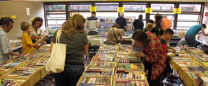 people browsing at book sale