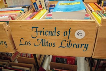 Box of books labeled Friends of Los Altos Library